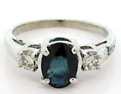 Classic Diamond & Sapphire 3 Stone Ring, 14k