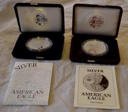 1992 and 2002 Proof Silver Eagles with Boxs and Papers