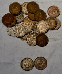 25 Choice Full Liberty 1900-1908 Indian Cents Most with lots of Diamonds