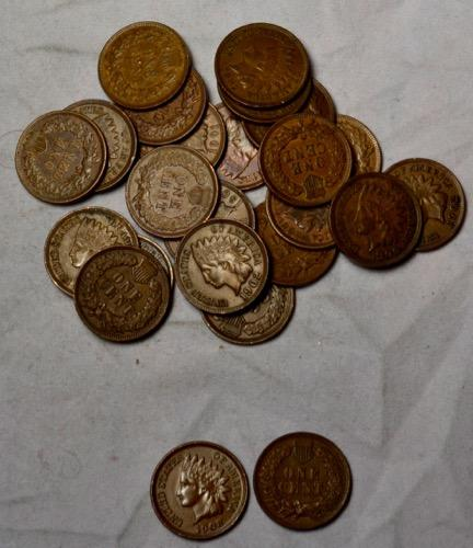 25 Choice Full Liberty 1900-1908 Indian Cents