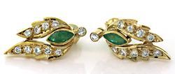 Fancy Emerald & Diamond Earrings in 18K
