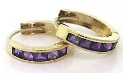 Wonderful Amethyst Huggie Earrings