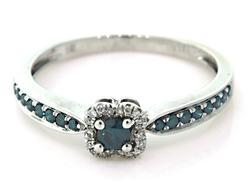 Petite Blue & White Diamond Halo Ring