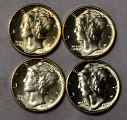 4 Choice Gem BU Mercury Dimes 1942 S &3 S 1943 D FSB and 1944