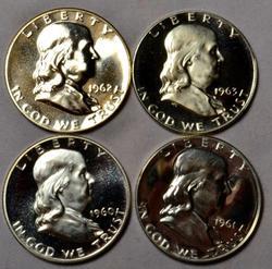 4 Proof Franklins 1960-63
