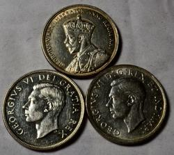3 Slider Canada Silver Dollars 1935 1939 and 1950