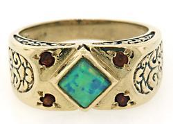 Vintage Style Opal & Garnet Scroll Ring
