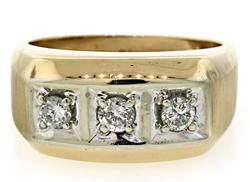 Gents 3 Diamond Two Tone Ring