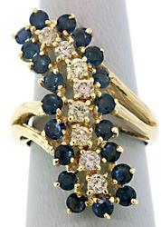 Long Wavy Sapphire & Diamond Cocktail Ring