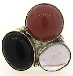 Sterling Silver Purple, Black and Red Stone Ring