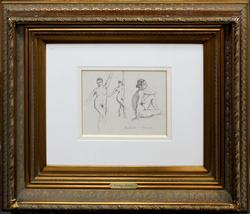 PAULEMILE PISSARRO  DRAWING, STUDY OF THREE NUDES