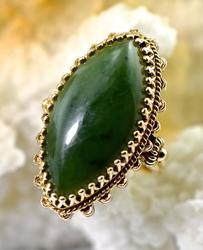 Vintage Bold Jade 14K Ring