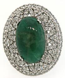 Green Beryl & White Sapphire Ring