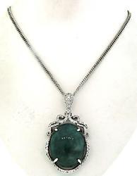 Green Beryl & White Sapphire Pendant