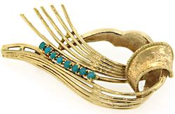 Unique Vintage Turquoise Abstract Brooch, 18K