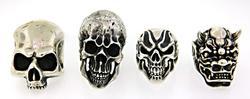 4 Large Demon & Skull Rings in Sterling