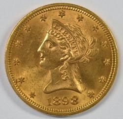 Choice BU 1898 US $10 Liberty Gold Piece. Fresh