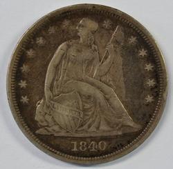 Scarce 1840 No Motto Liberty Seated Silver Dollar