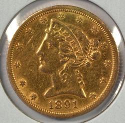 Very scarce 1891-CC $5 Liberty Gold Piece in high grade