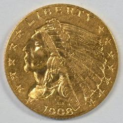 Lovely 1st Year 1908 US $2.50 Indian Gold Piece