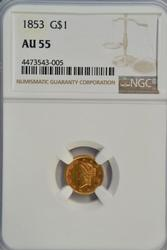 Virtual BU 1853 US Type One $1 Gold Piece. NGC AU58