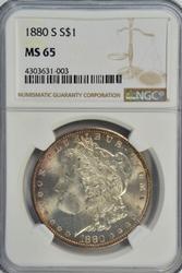 Gorgeous Gem BU 1880-S Morgan Silver Dollar. NGC MS65