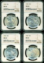 Near Gem BU 1922 to 1925 Peace Silver Dollars. NGC MS64