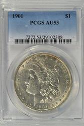 Rare near Mint 1901-P Morgan Silver Dollar. PCGS AU53