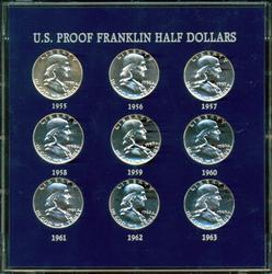 Fabulous Set of PRF Franklin Half Dollars 1955 to 1963