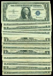 33 Nicer Mixed 1935 & 1957 Series $1 Silver Certificate