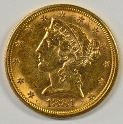 Eye-appealing 1881-P US $5 Liberty Gold Piece