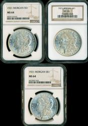 3 Near Gem BU 1921 Morgan Silver Dollars. NGC MS64