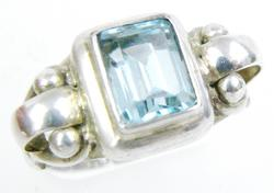 Chunky Sterling Ring with Blue Topaz