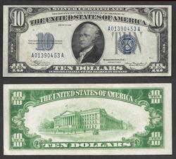$10 1934 SC Bright Blue Overtone Fr.1701