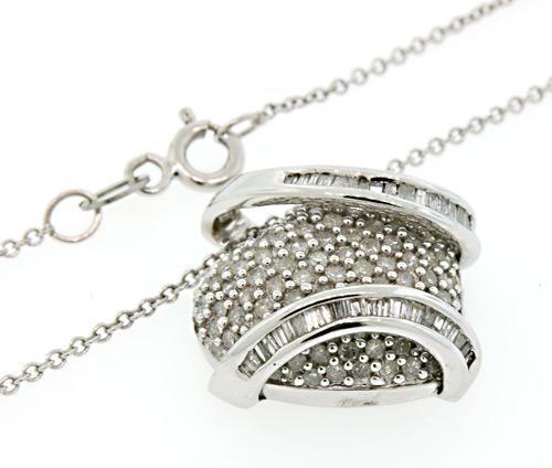 Diamond Heart w Pave Set & Baguette Diamonds Pendant