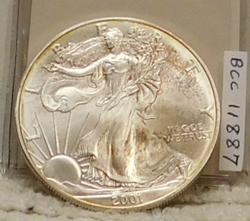 2001 Silver Eagle, Uncirculated, toning.