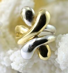 Modern Bi-Color Gold 14K Ring