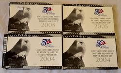 2 Each 2004 2005 State Quarter Silver Proof Sets
