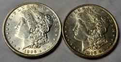 1896 & 1898 Frosty white Unc Morgan Dollars