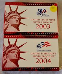 2003 and 2004 Proof Silver Proof Sets with boxs
