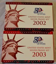 2002 and 2003 Proof Silver Proof Sets with boxs