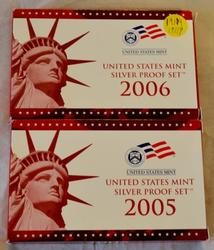 2005  2006 Silver Proof Sets with Original boxs