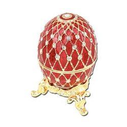 24k Gold-Plated Red Enamel Swarovski Crystal Faberge-Style Egg Keepsake
