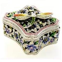 Pewter Swarovski Crystal Enameled Garden Dragonfly Keepsake Box