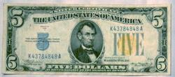 Popular 1934 A North Africa $5 Silver Certificate Fr 2307