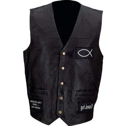 Italian Stone™ Design Genuine Leather Vest with Christian Patches