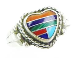 Sterling Heart Ring with Inlaid Gemstones
