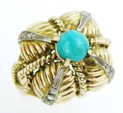 Stunning Early 18K Gold Turquoise Ring