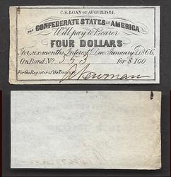 Four Dollar Confederate 1861 Bond No 608