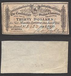 Thirty Dollars 2nd series Confederate w Intwerest